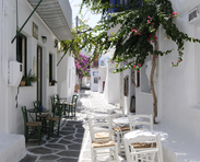 Typical Cycladic cafes in Naoussa old town
